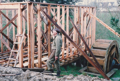 Bycroft's flour mill in Howick Historical Village under construction.; La Roche, Alan; 20 September 1992; P2021.86.09