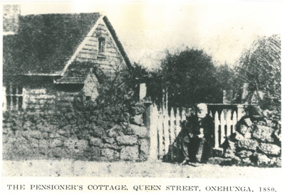 F O Queenan seated at the gate of a Fencible Cottage; 1880; 2017.137.08