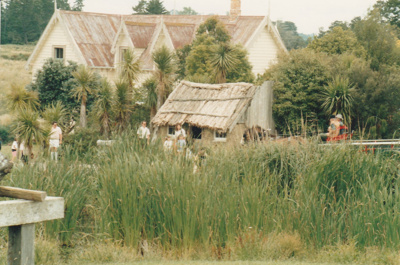 Visitors in front of the Sod Cottage, Howick Historical Village  ; La Roche, Alan; P2020.43.31