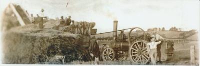 Bob Dawson's threshing machine at Bell Farm.; c1910; 2017.569.17