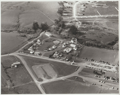 Aerial view of the Howick Historical Village.; Homer, Lloyd New Zealand Geological Survey; 1/08/1982; 2019.104.01
