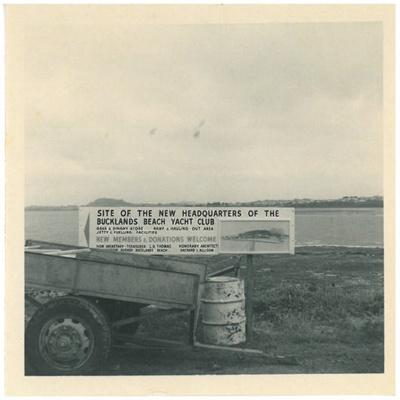 Bucklands Beach Yacht Club site and sign board; Fairfield, Geoff; 12.12.1961; 2017.009.65.