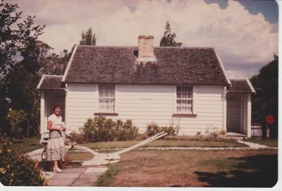 Eileen Martensen outside The McDermott cottage; 1963-1964; 2019.091.36