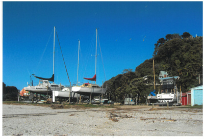 Catamaran moored in the Turanga River; La Roche, Alan; 1/10/2010; 2017.214.33