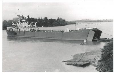 LST Rawhiti in Tamaki River, Pakuranga at McCallums's landing.; 1947; 2016.497.97