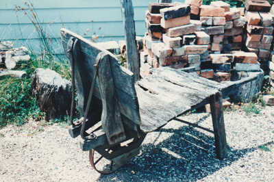 A cart used for carrying bricks at a Live Day at HHV. ; La Roche, Alan; March 1992; 2019.178.02