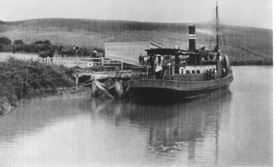 Steamer Hirere docked at Whitford wharf @1908. P...
