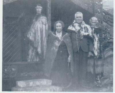 The dedication of Torere Ngai Tai (Maori Meeting House) in the Garden of Memories.; 20/10/1936; 2019.090.12