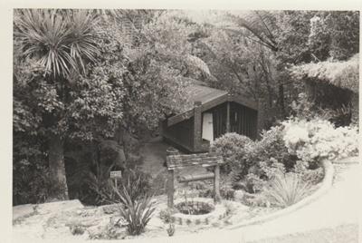 Torere Ngai Tai (Maori Meeting House) in the Garden of Memories.; La Roche, Alan; 1/09/1969; 2019.090.16
