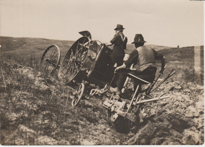 Early tractor ploughing in South Auckland.; c1920s; 2017.587.43