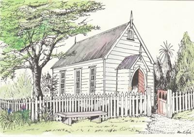 A drawing of the Howick Methodist Church sent as a Christmas card to Rev. Robert Hattaway by Alan la Roche.; La Roche, Alan; P2020.36.02
