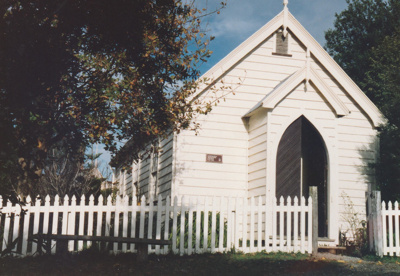 Front view of the Howick Methodist Church in the Howick Historical Village.; 1991; P2020.34.06