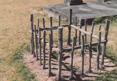 A grave at Tapawera, Marlborough which was used as a model  for a grave in the Howick Methodist Church cemetary at HHV.; La Roche, Alan; May 2000; 2020.43.01