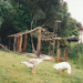 Hemi Pepene's whare (cottage) at the Howick Historical Village, showing the roof structure in place..; La Roche, Alan; December 2000; 2020.96.03