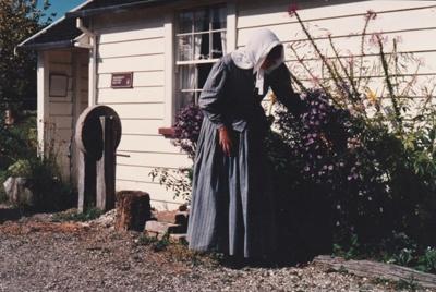 Adrienne Zuppicisch outside Briody's cottage.; P2021.105.27