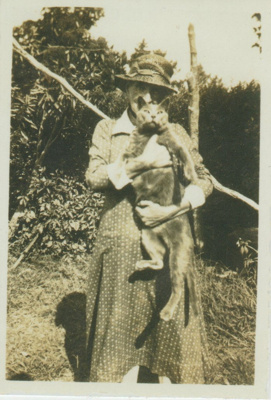 Annie Page and her cat, Tinker.; c1950; 2018.401.01