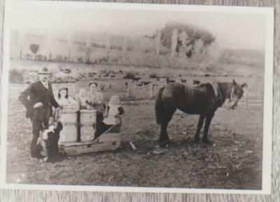 Hancock family in a sledge on Gills Farm; 17.03.1910; 2017.440.25