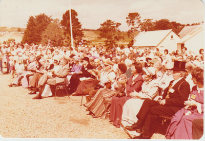 The crowds listening to the speeches at the opening of the Historic Village.; 8/03/1980; 2019.100.41