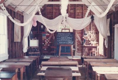 The interior of Ararimu Valley School in the Howick Historical Village. ; La Roche, Alan; P2020.21.22