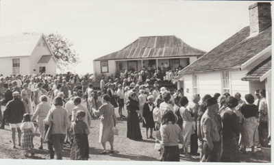 Crowds of people at the opening of the Historic Village; Eastern Courier; 8/03/1980; 2019.100.55