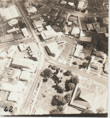 Aerial view of All Saints Churches 1972; 1/01/1972; 2018.243.02