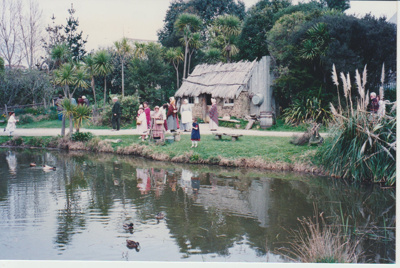 Visitors in front of the sod cottage in the Historic Village; O'Halloran, Esme; 1/08/1995; 2019.128.01