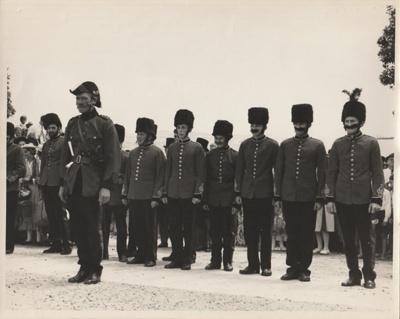 The November 1965 re-enactment of the Fencible landing. Photograph shows   new Fencibles on parade.; Howick Studios; November 1965; P2021.91.21