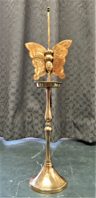 Brass Candlestick with butterfly extension to prot...