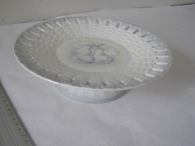 Ceramic cake stand or fruit plate. White with blue...