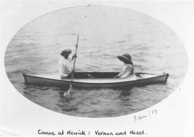 Canoe at Howick: Vernon and Hazel; 1913; 5018