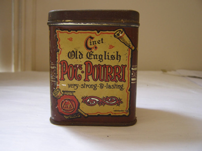 Painted Metal 'Pot.Pourri' Container with attached...