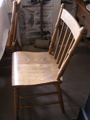Wooden kitchen chair, shaped seat, engraved patter...