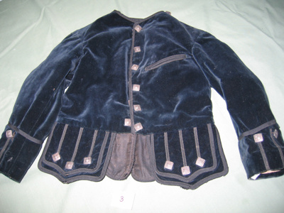 Boys jacket made of Prussian Blue velvet. Metal sq...