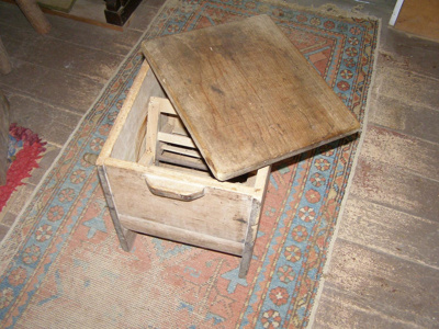 Wooden butter churn with lid.