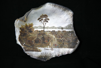 Shell with a painted scene of a New Zealand Maori ...