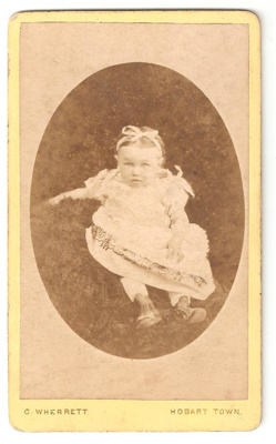 Carte de Visite of unknown baby girl. Oval picture...