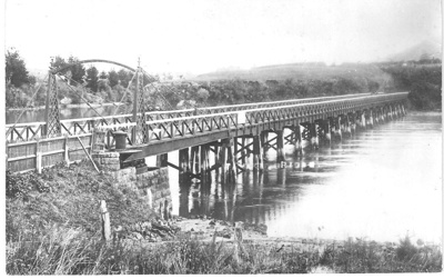 Photograph of the first Panmure Bridge. The bridge...