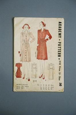 Academy Dress Pattern; NZ CuttersAcademy of Auckland; 2004/0177