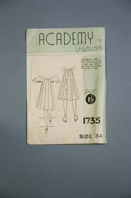 Academy Skirt Pattern; NZ CuttersAcademy of Auckland; 2004/0178