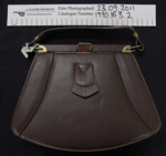 Brown 'Hermes' leather handbag; Hermes; 1950-60's; 1990_163_2