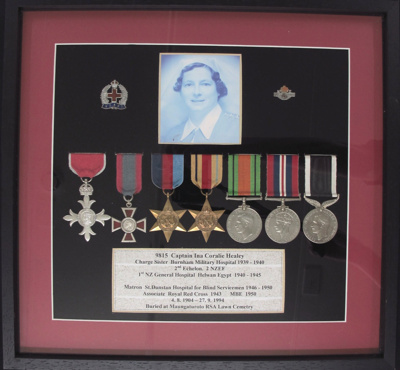 WW2 Medals Nurse Ina Coralie Wilks (nee Healey); New Zealand Government; 1939-1950; 2011_31_1