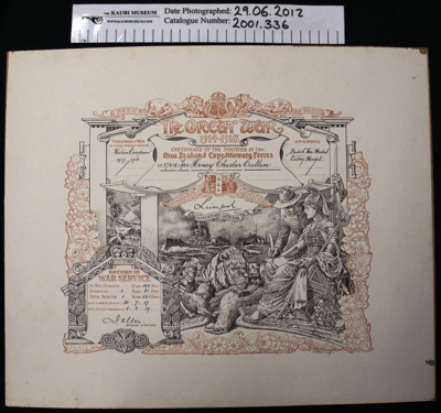 Certificate WW1; New Zealand Expeditionary Force; 1919; 2001_336