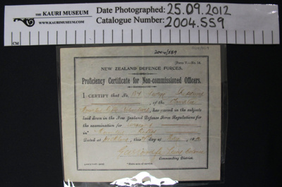 Certificate NCO 1910; New Zealand Defence Force; 1910; 2004_559