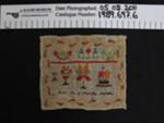 Needlework sampler; Unknown; Unknown; 1989_697_6