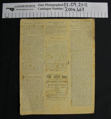 News clipping, Boer war; 1903; 2004_667