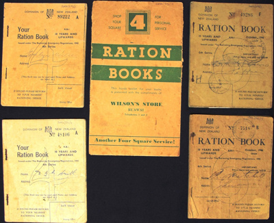 Ration book WW2; Dominion of New Zealand; 1942-1946; 2002_596_1-5