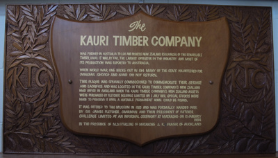 Dedication plaque The Kauri Timber Company; C. A. Harrison; 1984; 1984_17_1-2