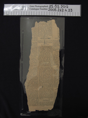 Newspaper article; c.1912-1918; 2005_263_4_23