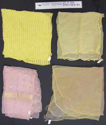 Ladies scarves; Unknown; mid 20th Century; 2004_468_21-26
