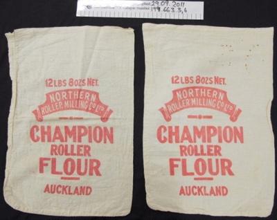 Muslin 'Champion' flour bag; Northern Roller Milling Co Ltd; mid 20th Century; 1991_663_3-6